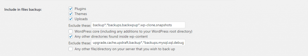 Which Files to backup wordpress